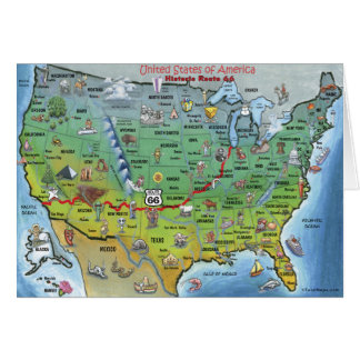 Historic Route 66 Cartoon Map Card