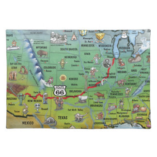 Historic Route 66 Cartoon Map Cloth Placemat