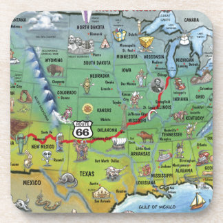Historic Route 66 Cartoon Map Coaster