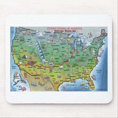 USA Map Mousepad Zazzlecom - Original route 66 map
