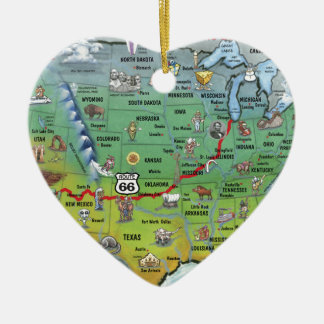 Historic Route 66 Cartoon Map Double-Sided Heart Ceramic Christmas Ornament