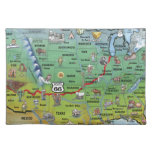 Historic Route 66 Cartoon Map Place Mat