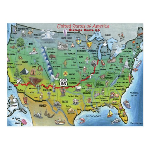 Historic Route 66 Cartoon Map Post Cards