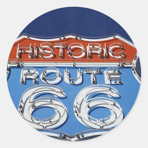 Historic Route 66 Classic Round Sticker
