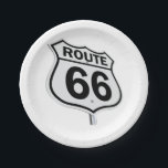 "Historic Route 66 Paper plate. Paper Plate<br><div class=""desc"">Paper plates that show your love for this classic route.</div>"