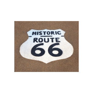 Historic Route 66 Pavement Sign 2.5 inch edge Canvas Print