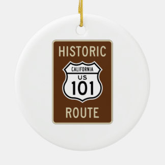 Historic Route U.S. Route 101 (California) Sign Double-Sided Ceramic Round Christmas Ornament