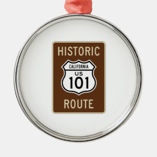 Historic Route U.S. Route 101 (California) Sign Round Metal Christmas Ornament