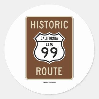 Historic Route US Highway 99 (California) Classic Round Sticker