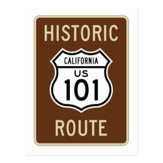 Historic Route US Route 101 (California) Sign Postcard