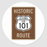 Historic Route US Route 101 (California) Sign Round Stickers