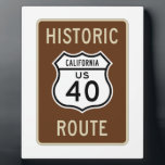 """Historic Route US Route 40 (California) Plaque<br><div class=""""desc"""">Fans of US Route 40 (in California) will enjoy any of these transportation signage gifts featuring the classic highway sign!</div>"""