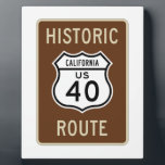 "Historic Route US Route 40 (California) Plaque<br><div class=""desc"">Fans of US Route 40 (in California) will enjoy any of these transportation signage gifts featuring the classic highway sign!</div>"
