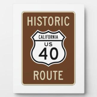 Historic Route US Route 40 (California) Plaque
