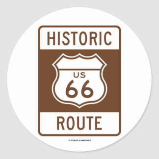 Historic Route US Route 66 (Transportation Sign) Round Sticker