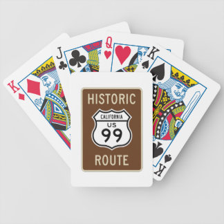 Historic Route US Route 99 (California) Sign Bicycle Playing Cards
