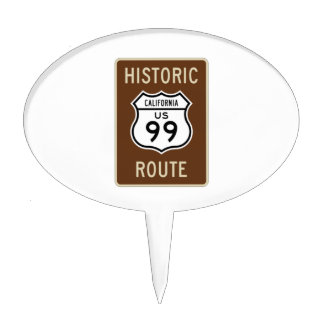Historic Route US Route 99 (California) Sign Cake Toppers