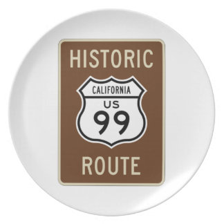 Historic Route US Route 99 (California) Sign Dinner Plates