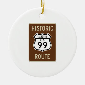 Historic Route US Route 99 (California) Sign Double-Sided Ceramic Round Christmas Ornament