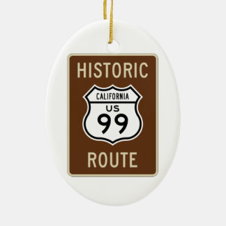 Historic Route US Route 99 (California) Sign Double-Sided Oval Ceramic Christmas Ornament