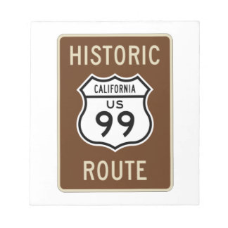 Historic Route US Route 99 (California) Sign Memo Pad