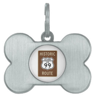 Historic Route US Route 99 (California) Sign Pet Name Tags