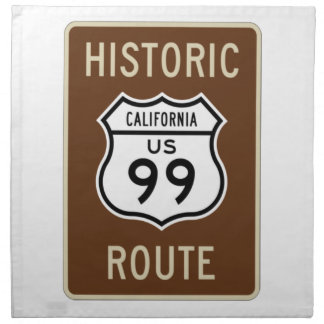 Historic Route US Route 99 (California) Sign Printed Napkins