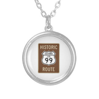 Historic Route US Route 99 (California) Sign Round Pendant Necklace