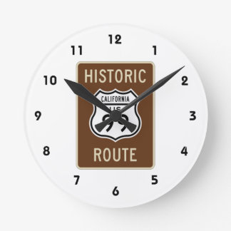 Historic Route US Route 99 (California) Sign Round Wall Clock