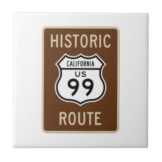 Historic Route US Route 99 (California) Sign Small Square Tile