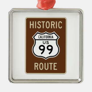 Historic Route US Route 99 (California) Sign Square Metal Christmas Ornament