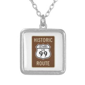 Historic Route US Route 99 (California) Sign Square Pendant Necklace