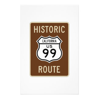 Historic Route US Route 99 (California) Sign Stationery