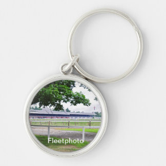 Historic Saratoga and Clare Court Silver-Colored Round Keychain