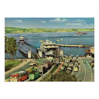 Historic Ships  Car ferry across the Bodensee Poster