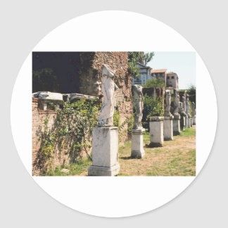 Historic Statues of Virgins Italy Travel Photo Classic Round Sticker