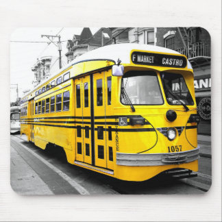 Historic Streetcar with Striking Yellow Color Mousepad