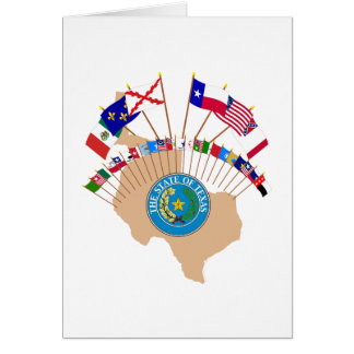 Historic Texas Flags, Seal and Olde Tyme Map Greeting Card