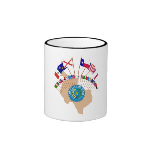 Historic Texas Flags, Seal and Olde Tyme Map Coffee Mugs