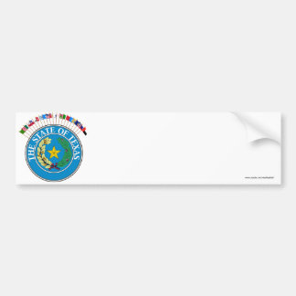 Historic Texas Flags with Seal Car Bumper Sticker