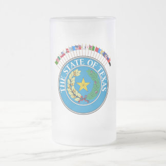 Historic Texas Flags with Seal Frosted Glass Beer Mug