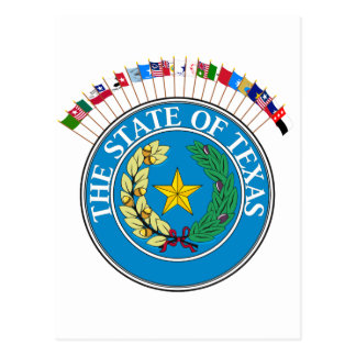 Historic Texas Flags with Seal Postcard