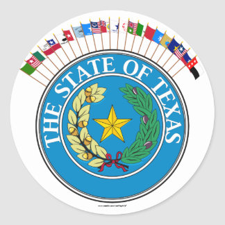 Historic Texas Flags with Seal Classic Round Sticker
