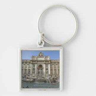 Historic Trevi Fountain in Rome, Italy Silver-Colored Square Keychain