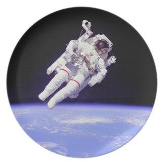 Historic Untethered Space Walk Melamine Plate