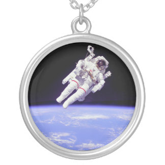 Historic Untethered Space Walk Silver Plated Necklace