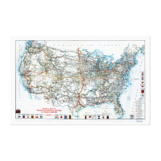 Historic USA Highway Map Early 20th Century Canvas Print