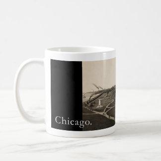 Historic view OF Grant park, Chicago (around 1880) Classic White Coffee Mug