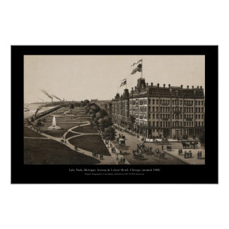 Historic view OF Grant park, Chicago (around 1880) Posters