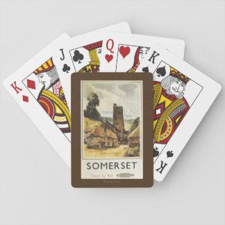 Historic Village Scene British Railway Poster Playing Cards